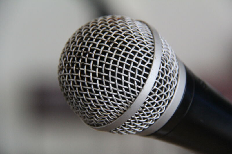 Extreme closeup photograph of a professional microphone.