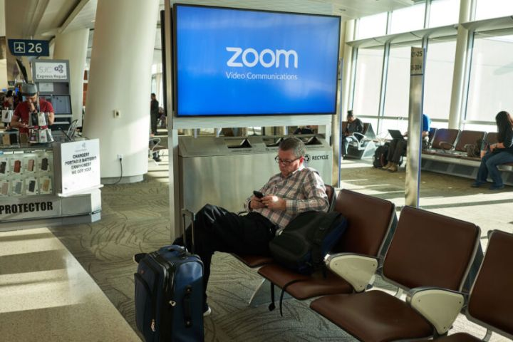 Security and privacy protip: Don't do your videoconference in the middle of an airport.