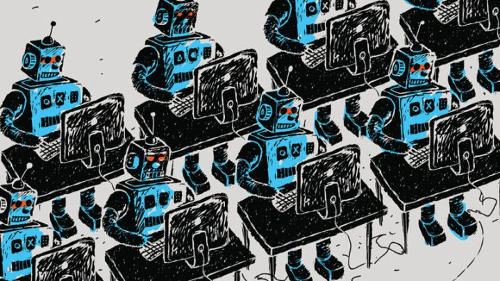 Rows of 1950s-style robots operate computer workstations.