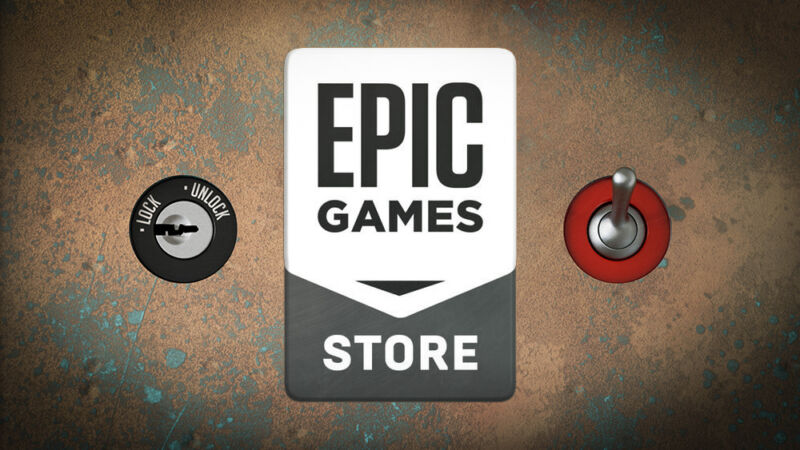 Epic Games logo next to a lock.