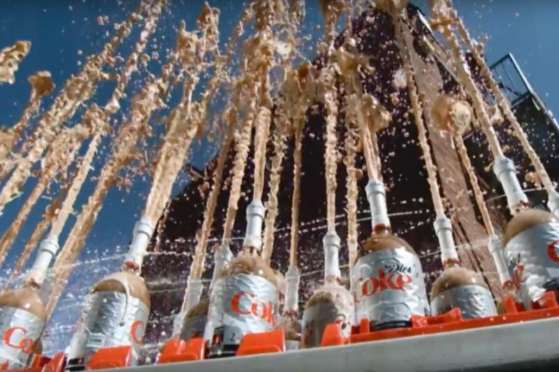 A well-coordinated Mentos-and-Diet-Coke explosion filmed in slow motion for The Slow Down Show in 2013.