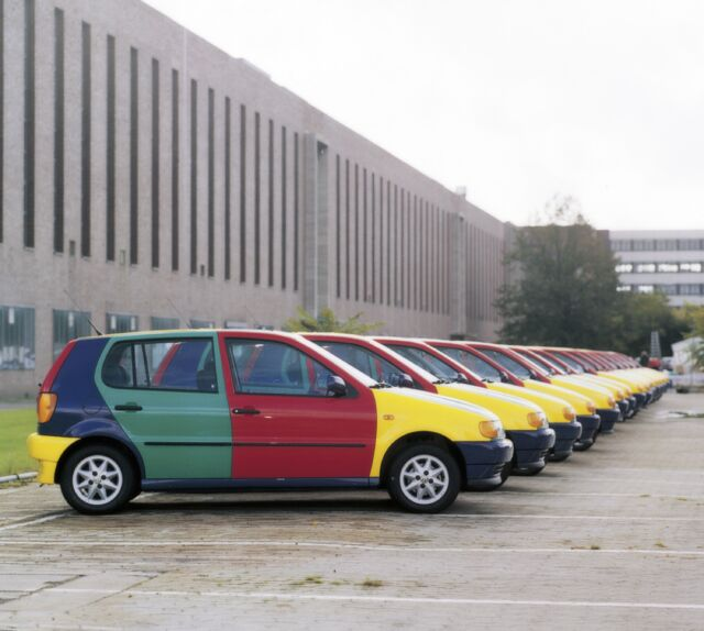 VW made 3,100 of these multicolored Polo Harlequins. Each one started life on the production line as one of the four individual colors, before panels started being swapped. You'll have to read <em>Boring Car Trivia</em> to find out how you can tell what that starting color was.