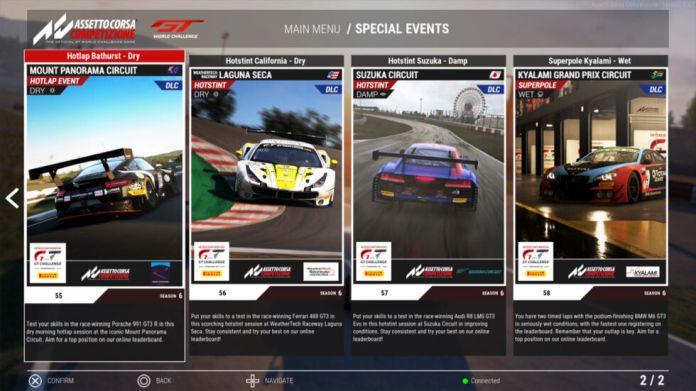 Um exemplo do menu Eventos Especiais