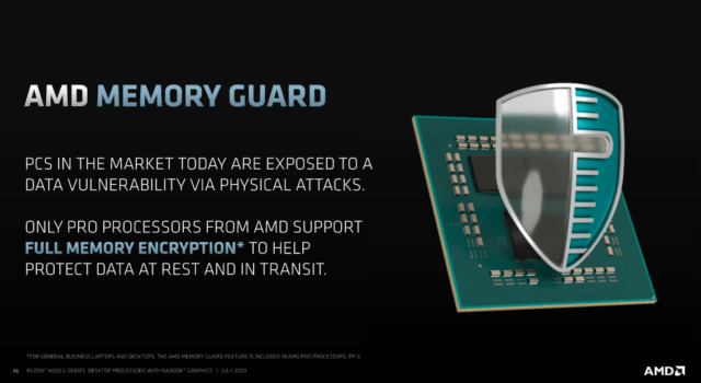 AMD Memory Guard—full RAM encryption—is the main selling point for the Pro variant of Ryzen 4000 G-series processors.