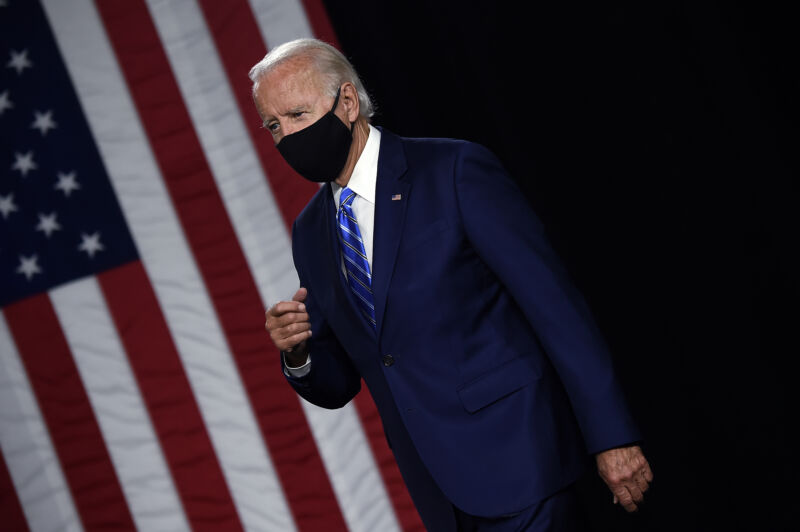 """Democratic presidential candidate and former Vice President Joe Biden arrives to speak at a """"Build Back Better"""" Clean Energy event on July 14, 2020 at the Chase Center in Wilmington, Delaware."""