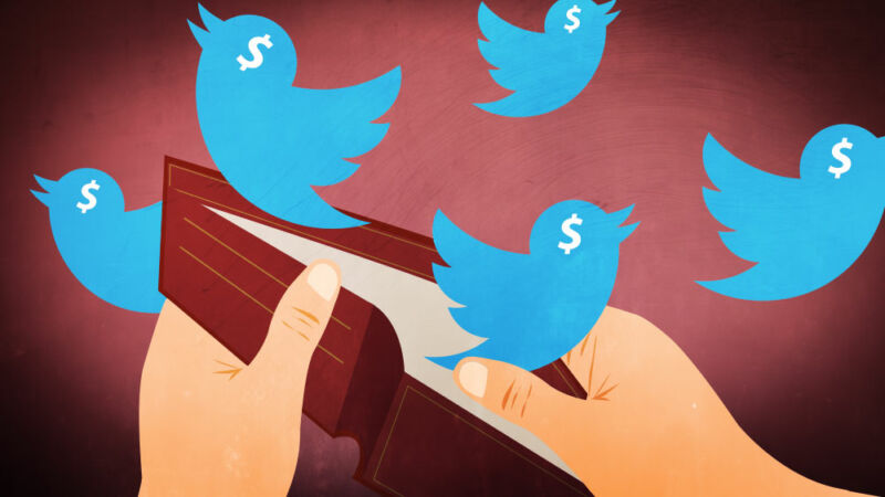 Cartoon image of Twitter-logo birds flying out of empty wallet.