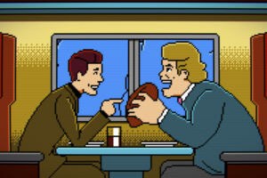 Trip Hawkins and John Madden appear as pixelated characters in one of several montage scenes.