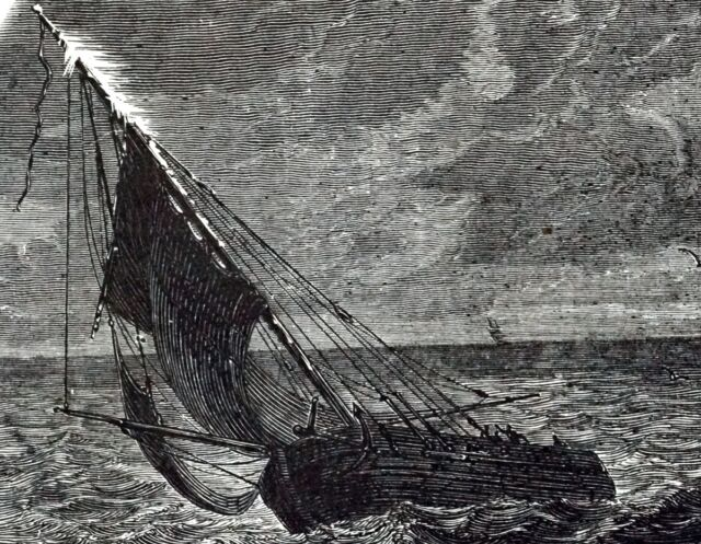 1883 illustration showing St. Elmo's fire on a ship at sea.