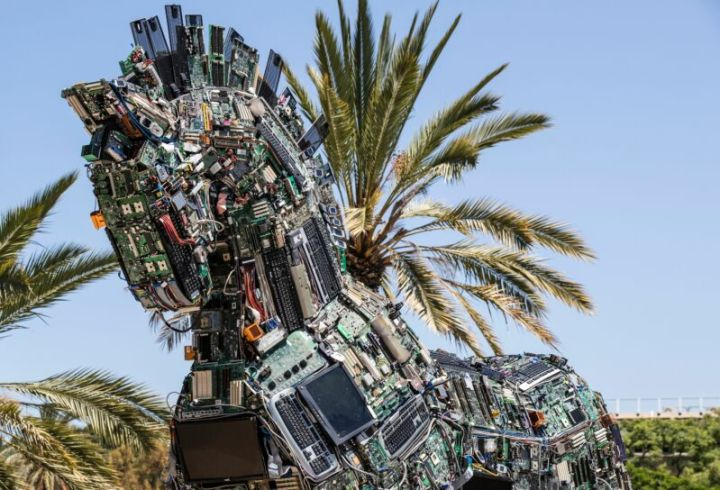 "A replica of the Trojan horse made up of thousands of computer and mobile phone components infected with various viruses and malware, named the ""Cyber Horse"" is displayed at the entrance to the annual Cyber Week conference at the Tel Aviv University in the Israeli city of Tel Aviv on June 20, 2016. 