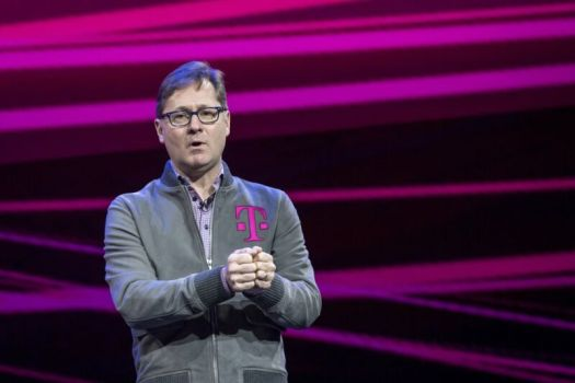 T-Mobile CEO Mike Sievert speaks during a keynote at CES 2020 in Las Vegas on Wednesday, Jan. 8, 2020.