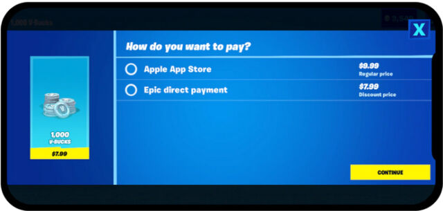 Epic argues the success of its <em>Fortnite</em> Direct Payment option shows the demand for alternatives to Apple's in-app purchase monopoly.