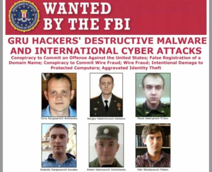 The faces of 6 men underneath a banner that reads WANTED BY THE FBI.