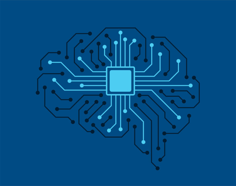 human brain, motherboards, chip and artificial intelligence concept and neural tech and brain computer interfaces.