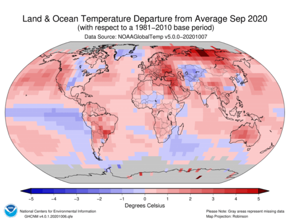 The global average temperature for September was a new record.