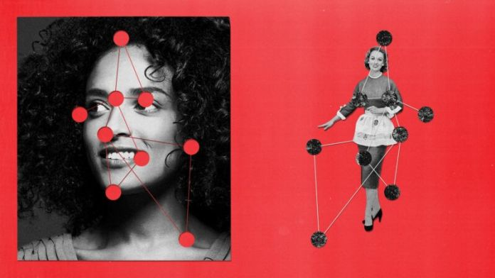 Side-by-side images of women with image-capture dots.