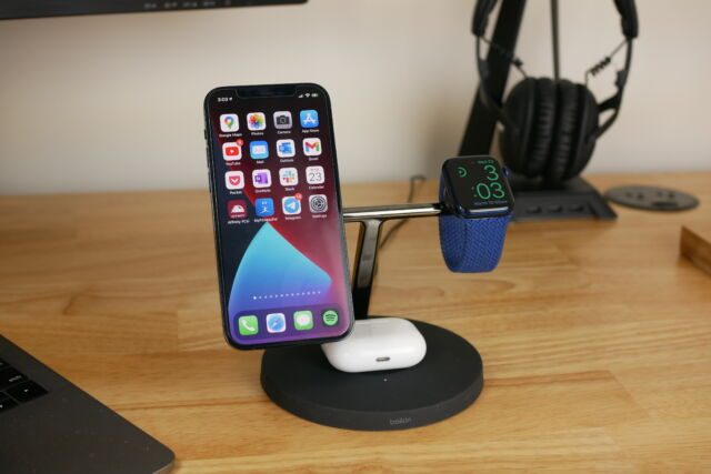 Belkin's 3-in-1 Magsafe charging stand is elegant, and capable, charging three Apple devices at once.