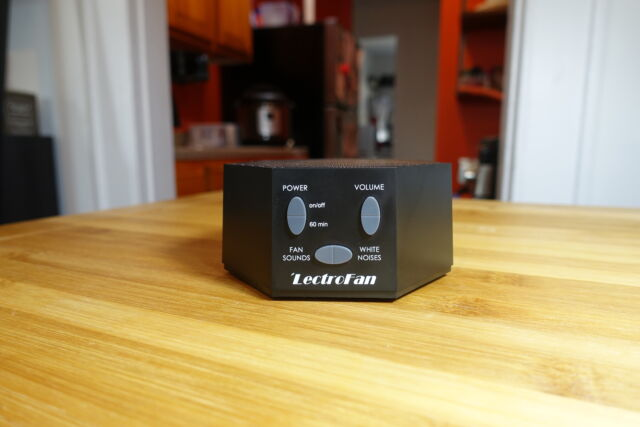 The LectroFan Classic white noise machine.