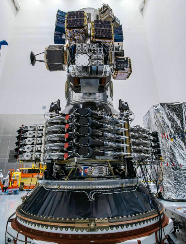 Starlink satellite before launch.  The dark circles in the middle are laser links.