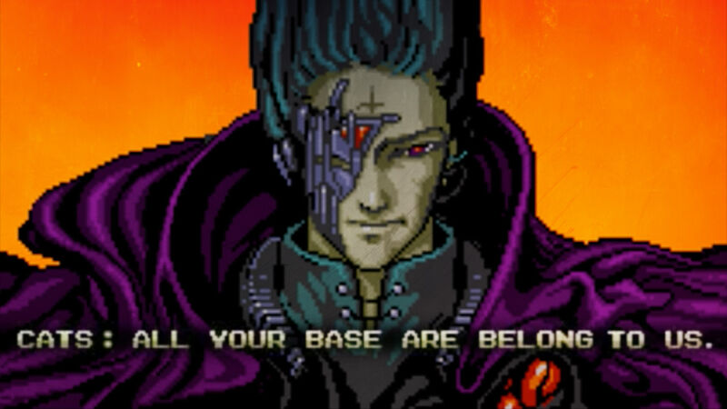 A menacing video game character's dialogue reads
