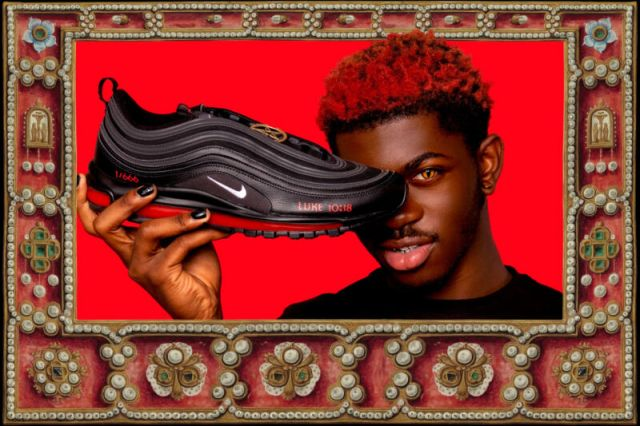 Promotional image shoes a man with demonic eyes holding a customized sneaker.