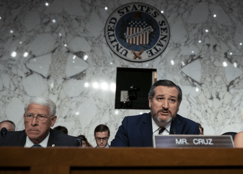 Sen. Roger Wicker (R-MS) and Sen. Ted Cruz (R-TX) are shown at a 2019 hearing. Both senators harshly criticized big technology companies at the 2021 confirmation hearing for Lina Khan to serve on the Federal Trade Commission.