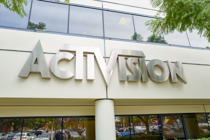 Sign on facade of Activision's Los Angeles offices.