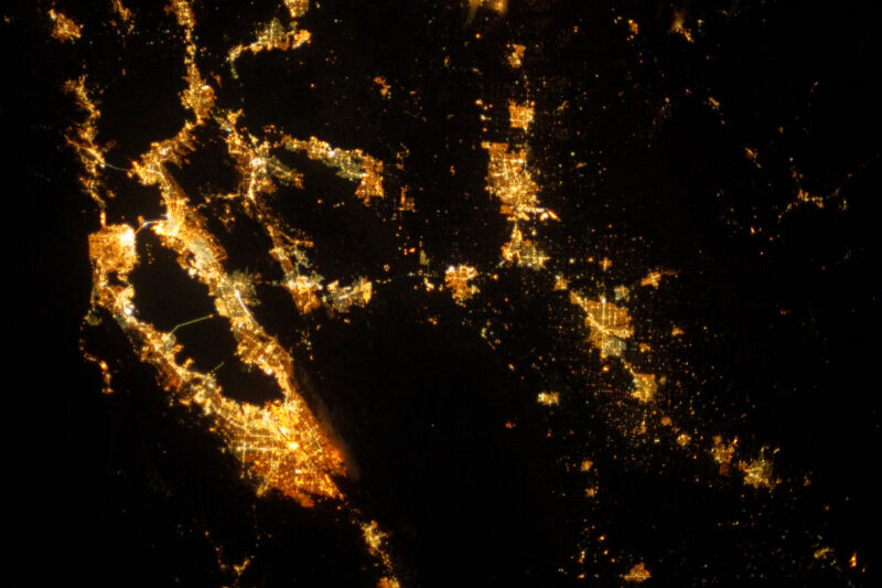 Night time image of the San Francisco Bay from space, showing the extensive habitation around the bay.