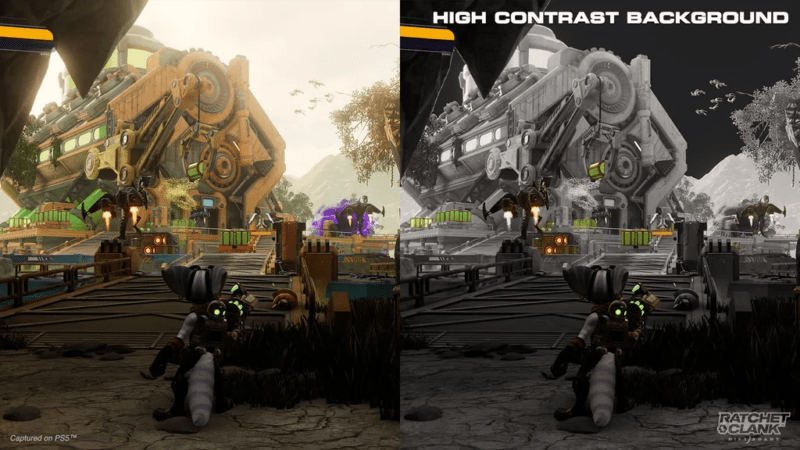 The high-contrast backgrounds in <em>Ratchet & Clank: Rift Apart</em> are just one of the more prominent examples of game designs tuned for the visually impaired.