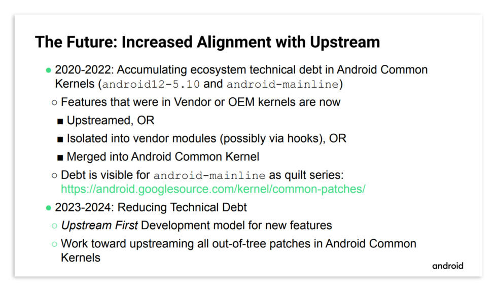 A slide from the presentation, detailing the new kernel-strategy timeline.