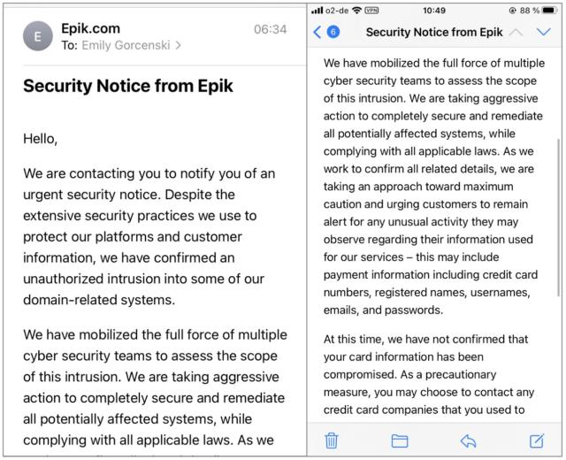 Epik begins emailing data breach notice to customers.