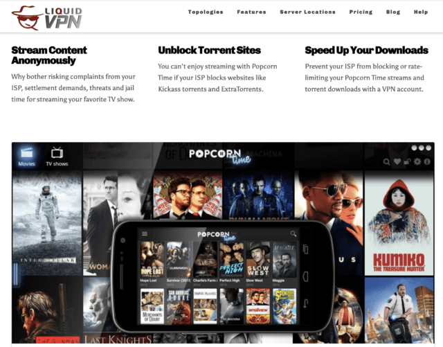 LiquidVPN website pages showing copyrighted images of movie titles.