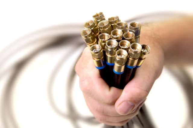 A person's hand holding a bundle of coaxial cables.