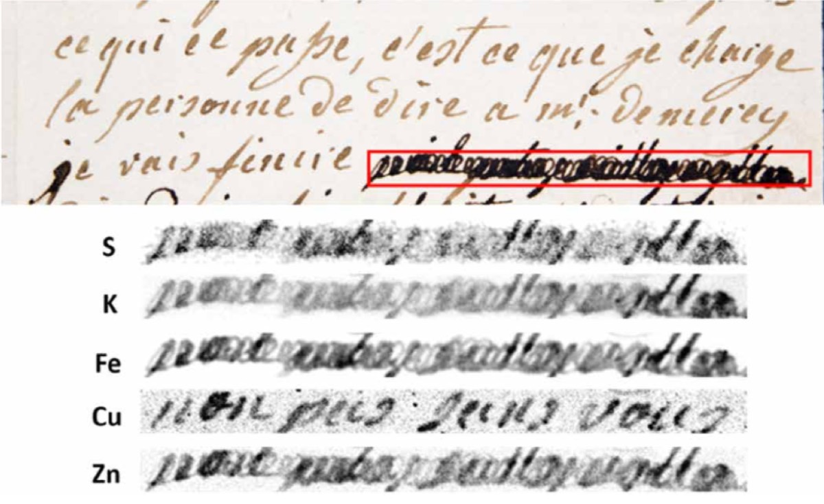 (top) First page of a letter between Marie Antoinette and Axel von Fersen. (bottom) Elemental map of the inks used. Un-redacted text: