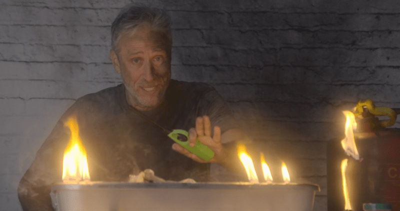 Jon Stewart is back on TV to set some things on fire.