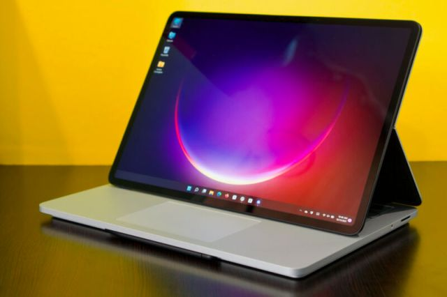 The Surface Laptop Studio with its screen popped out over its keyboard.