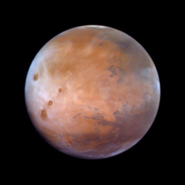 "New whole-hemisphere image of Mars captured by the UAE ""Hope"" probe."