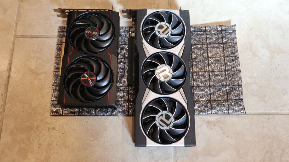 The RX 6600 is smaller in length compared to the RX 6800XT.