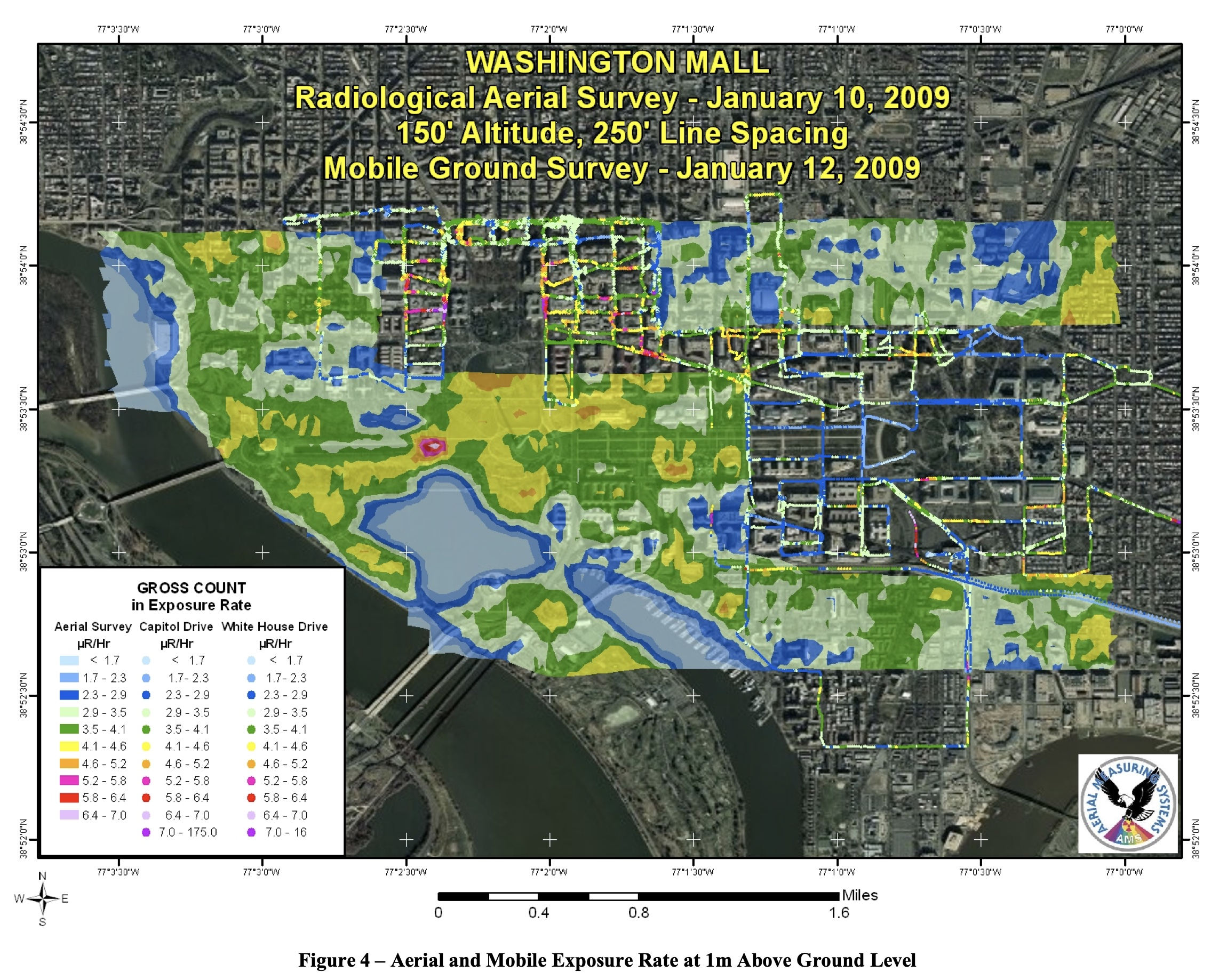 The map produced by NNSA for the 2009 presidential inauguration. Note the