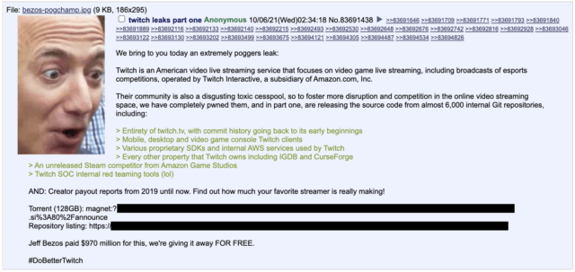 A 4chan user posted a torrent of 125GB data dump.