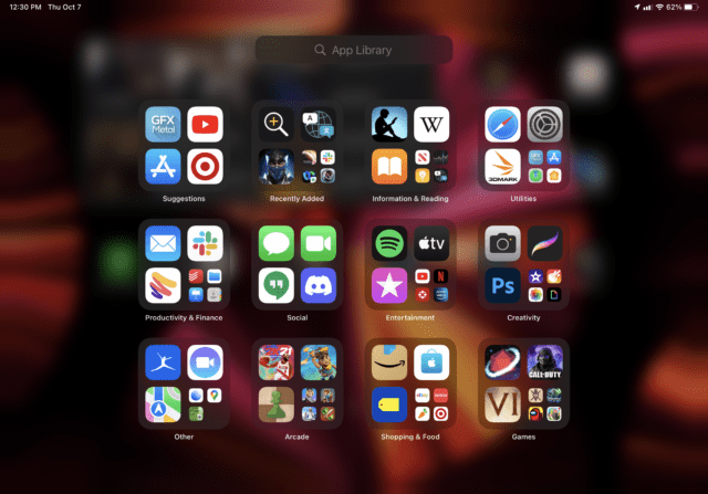 The app library in iPadOS 15.