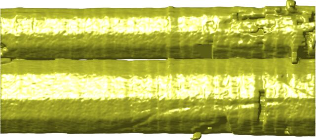 X-ray topography visualization showing a side view of two quasic crystals as they begin to melt together during cooling.