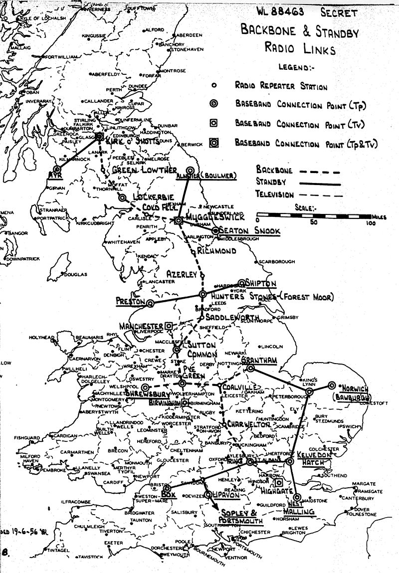 The UK's proposed microwave backbone in 1956.