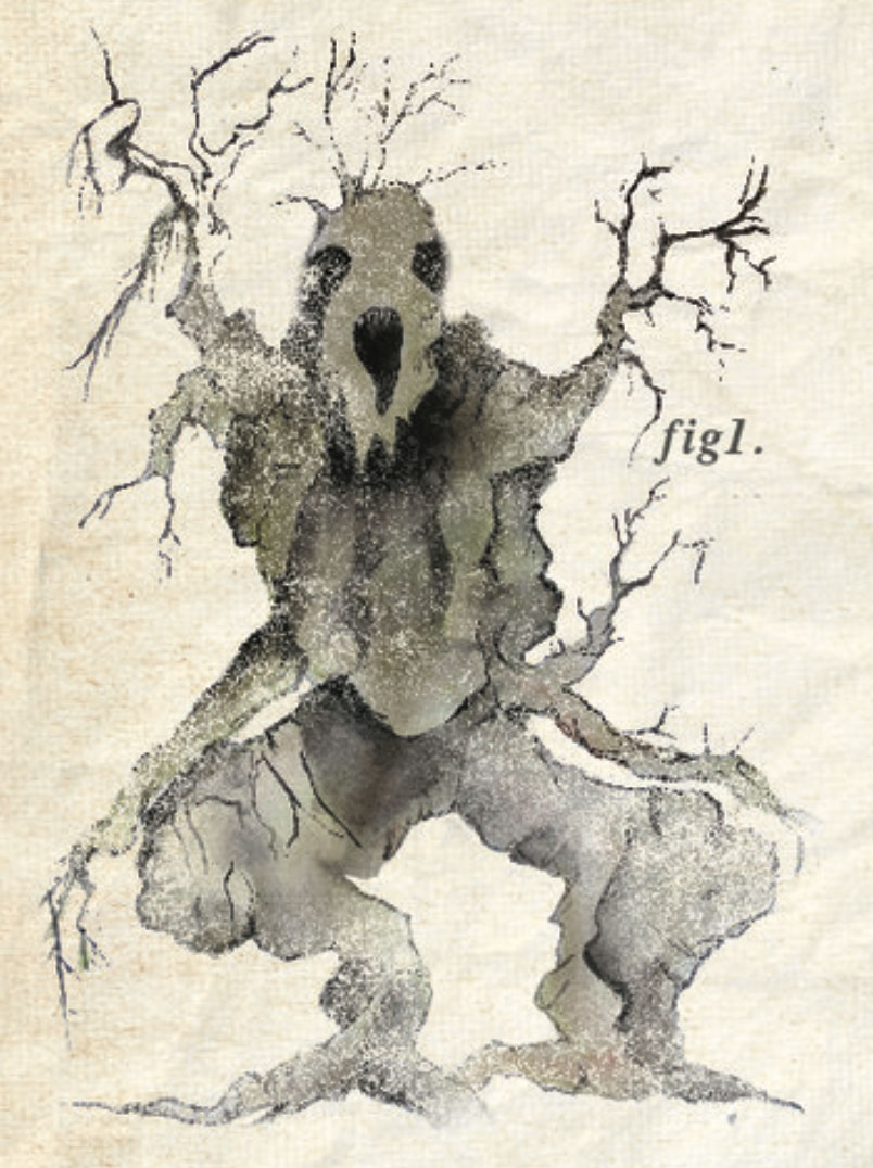 At the start of the game you receive a codex, which contains awesome sketches like this. (This is a waldgeist.)