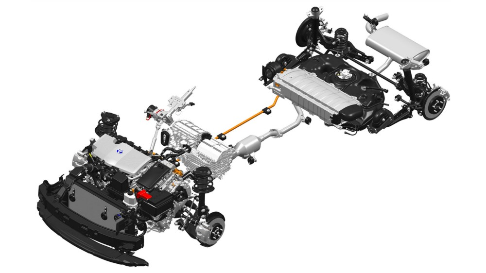 medium resolution of c hr hybrid drivetrain note battery under rear seats