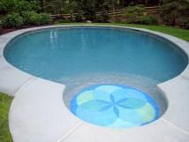 Lotus Flower Pool Floor Mosaic Pendant Tile Design Artaic