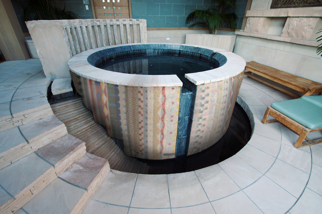Aztec Hot Tub Custom Pool Spa Mosaic Geometric Pattern  Artaic