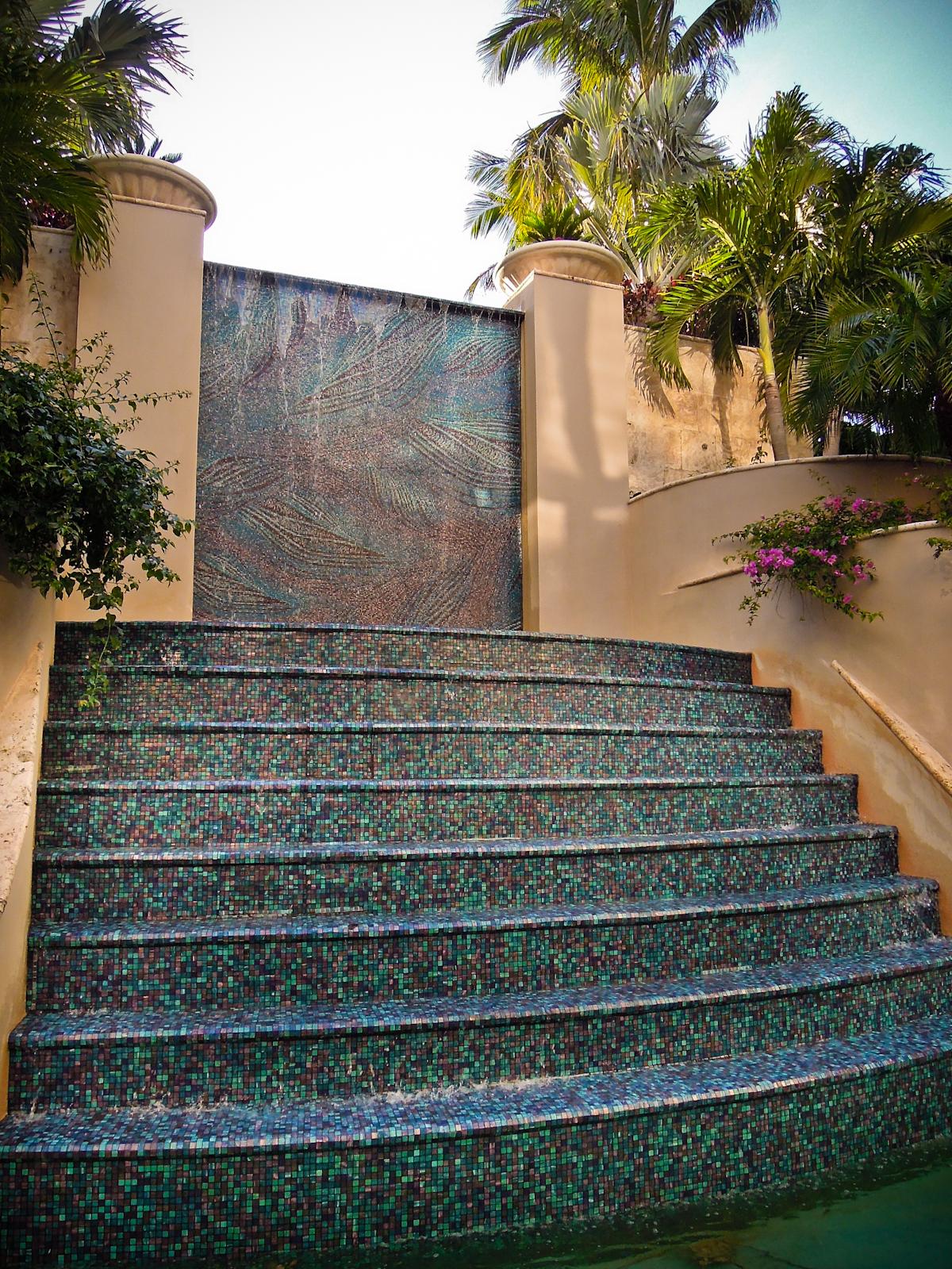 Blue Feather Ritz Hospitality Fountain Mosaic Tile  Artaic