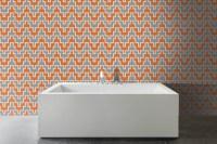 Orange Chevron Tile Pattern | Maya Tangerine By Artaic