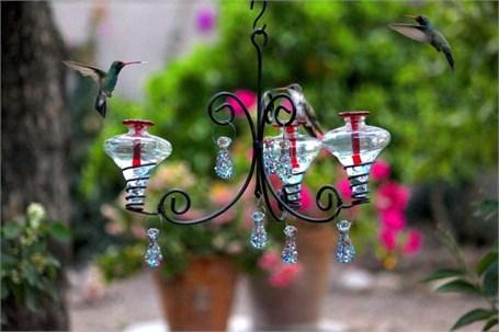 Hummingbird Feeder 12oz Chandelier 3 1 With Aqua Or Clear Glass