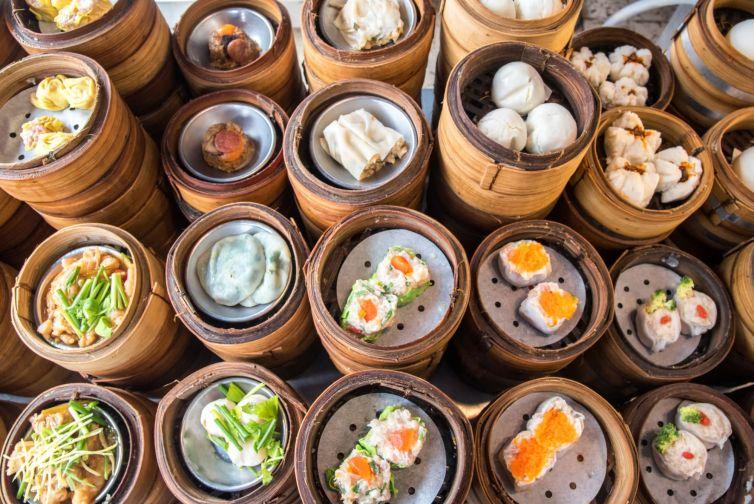 variety of chinese dimsum for breakfast, yumcha, dim sum in bamboo steamer, chinese cuisine